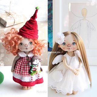 Девочки, у меня вопрос! Хочу устроить Новогодний #giveaway, но не могу определиться с выбором куколки, хочу либо яркую Новогоднюю Гномочку, либо Нежного Ангела сшить. Помогите с выбором, какие у вас предпочтения, и вообще, нужен ли этот розыгрыш? Куколки представлены для примера. #опрос