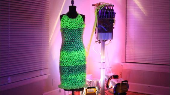 Fluid Dress by Charlie Bucket. This is a video of the fluid dress I made.  It's 600 ft. of knitted tubing powered by a pump located in the backpack.
