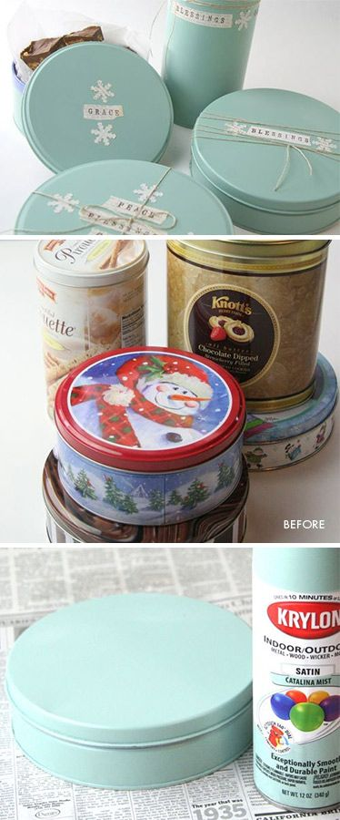 "DIY - Upcycling old Tins. Spray paint used was Krylon's Indoor/Outdoor Satin ""Catalina Mist"" color. Step-by-Step Tutorial.: Diy Cookie Tin, Christmas Tin Craft, Decorate Cookie Tin, Diy Craft, Christmas Cookie Tin, Paint Cookie Tin"