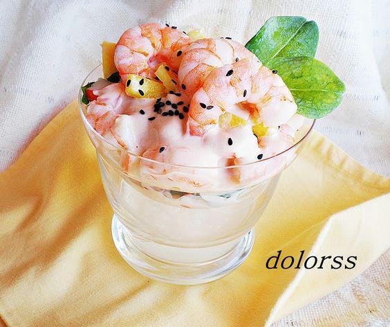 Blog de cuina de la dolorss: Cocktail de gambas y piña con hojas de ostra