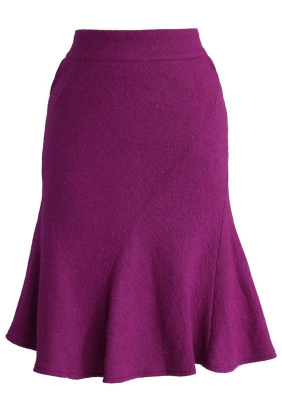 Flare Tweed Skirt in Purple