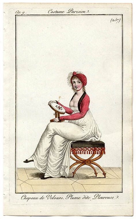 A lady embroidering on a tambour frame. Dexterity with the needle was an important an d useful accomplishment. Costumes Parisien, an 9.