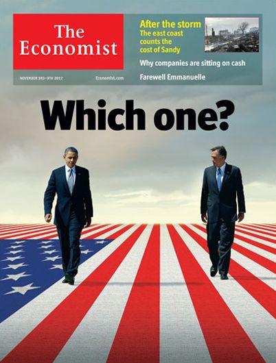 Revista The Economist (UK) - 03 de noviembre de 2012. La elección entre Romney y Obama. http://www.economist.com/news/leaders/21565623-america-could-do-better-barack-obama-sadly-mitt-romney-does-not-fit-bill-which-one?spc=scode=xm=9d7f7ab945510a56fa6d37c30b6f1709