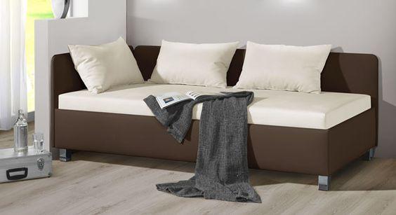 Tolle Studioliege mit optionalem Kissenset. #sofaliege #couch #gästebett | betten.de http://www.betten.de/studioliege-mit-bettkasten-100x200-lisala.html