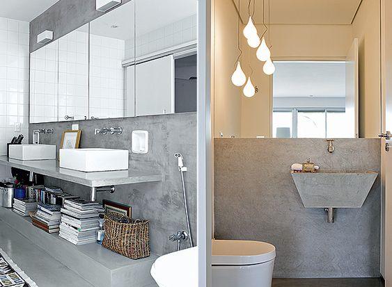 As cubas de concreto são pontos em comum entre o lavabo e a suíte (Foto: Cristian Maldonato e Edu Castello)