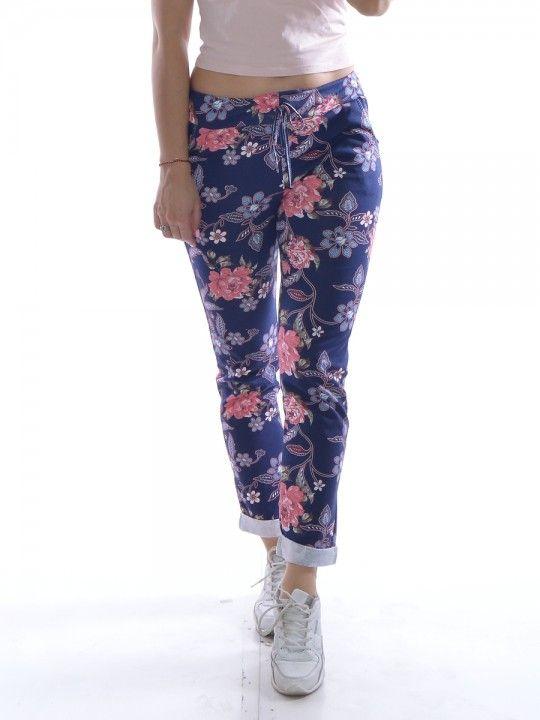 Spodnie Bawelna Jak Leginsy Kwiaty Na Granatowym Tle Fashion Sweatpants Pants