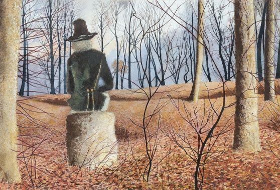Léon Spilliaert - De dichter in het bos, op de rug gezien (ca. 1937) (DV160 - 262)