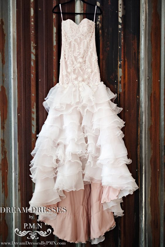 Blush Pink Tiered Trumpet Wedding Dress  (#SS16103)