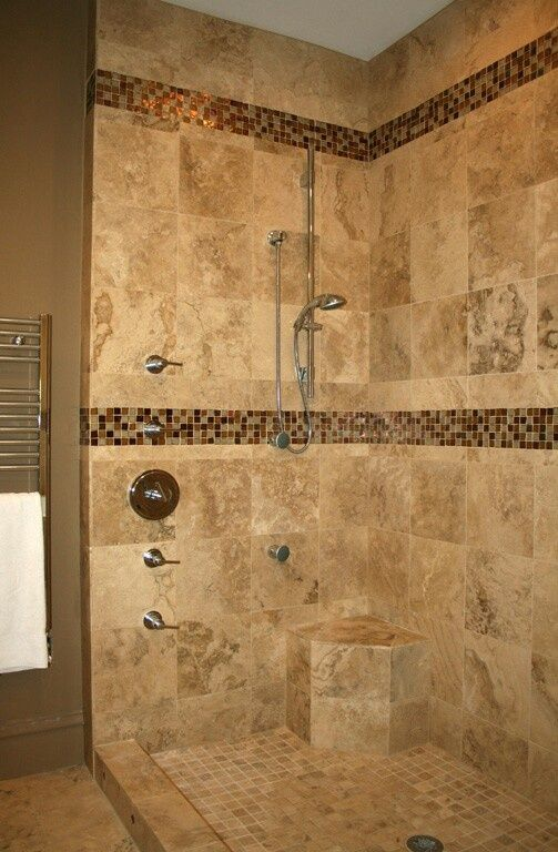 Brown Tiled Shower Replace Mosaic With Pebble Tile Bathroom Shower Design Bathroom Shower Tile Shower Tile