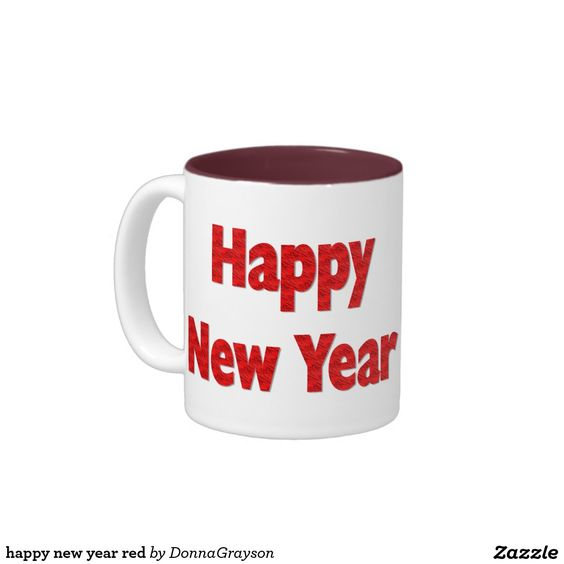 happy new year red Two-Tone coffee mug
