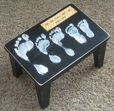 family footprints on kitchen stool. I LOVE THIS