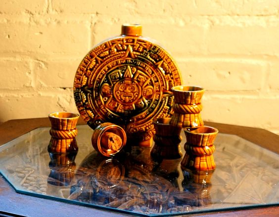 Mayan Calendar Decanter set with 4 Shot Cups (etsy). You know, just in case you need some drinkage to calm yourself down before the apocalypse.