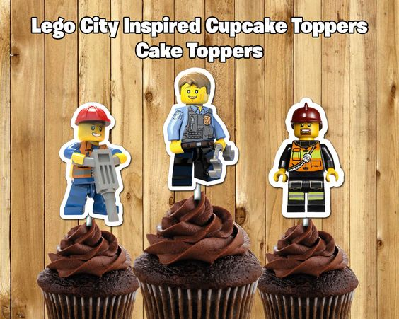 Lego City Inspired Cupcake Toppers - Customize Print - Lego City Cupcake Toppers…