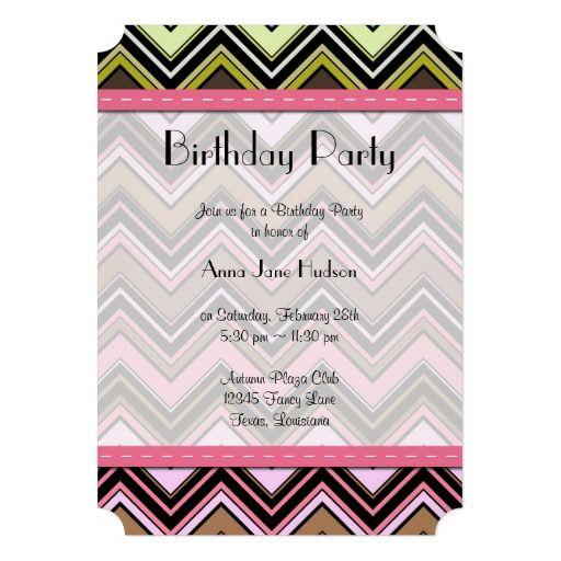 Pinterest the worlds catalog of ideas birthday party zigzag chevron stripes lines green pink brown invitation stopboris Choice Image