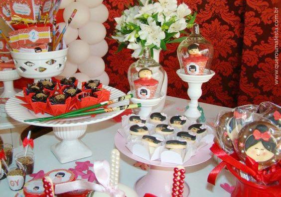 decoração festa kokeshi