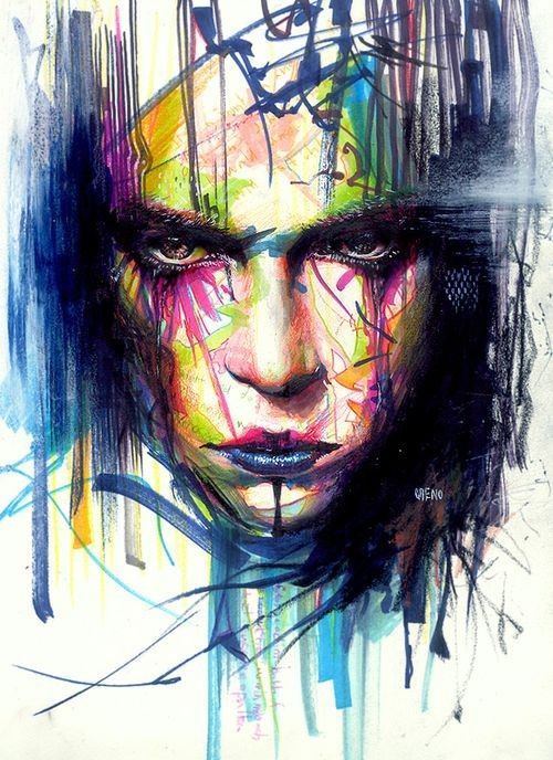 Intense emotions. Well balanced piece. Dark blues and purples help balance the bright colors in the face.