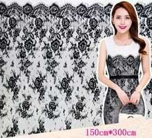 Wholesale Hot Sale 150cm*300cm African Designers Lace Fabric Whie Black Chantilly Lace Fabric Material Eyelash Lace For Dress(China (Mainland))
