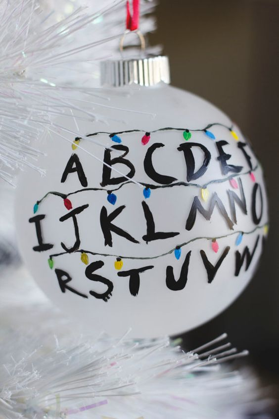 Did you binge watch Stranger Things in one day like I did? Do you crave waffles more than ever? Now you can proudly hang your hopeless devotion to Stranger Things with this inspired glass ornament! I hand paint each individual ornament (frosted/opaque glass ball, 4 diameter) so the design and color may vary ever so slightly from the pictures. Ribbon color/style may also vary depending on availability. PERSONALIZING: Include your personalizing request in the notes section during checkout if y...: