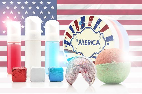 Save 10% when you buy the ENTIRE Stars and Stripes Collection at once. Five, full-sized products. Limited Quantity  'MERICA Whipped Cream  FREEDOM TO FOAM Foaming OCD  GRAND FINALE Fortune Cookie Soap  LIGHT MY SPARKLER Steam Me Up Scotty  SHARK WEEK Bath Bomb: