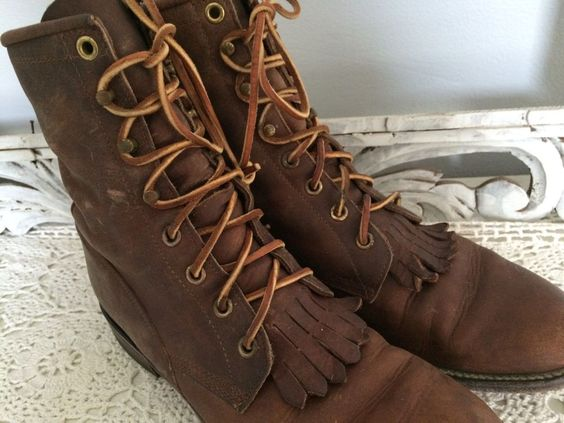 VTG Leather Justin Boots Sz 7 B Lace Up Granny Western Cowgirl  | eBay