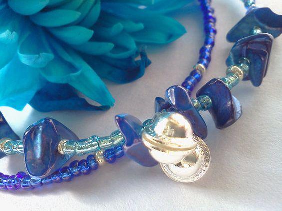 Pacific waves blue beaded jingle ankle bracelet by PinkCupcakeJC, $9.00