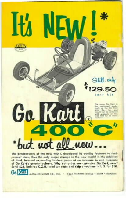 By 1960, the GoKart 400 had seen several changes, including side rails and a spiffier (sorry) seat. This was the last version of the 400 series before the introduction of the 800 in 1961.