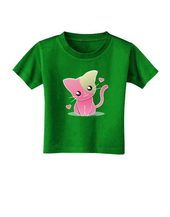 TooLoud Kawaii Kitty Toddler T-Shirt Dark
