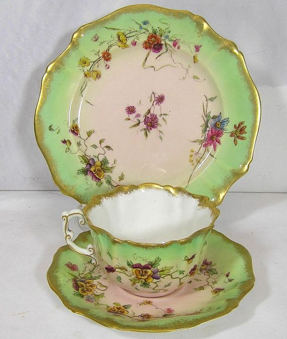 Art Deco Fine bone china Victorian 1889 Pastel by TheMewsCottage