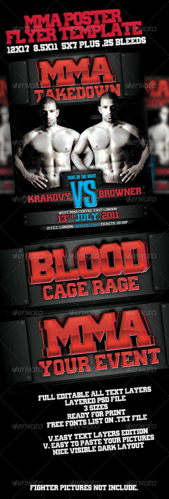 MMA Event Poster — Photoshop PSD #flyer #mma flyer • Available here → https://graphicriver.net/item/mma-event-poster/460374?ref=pxcr