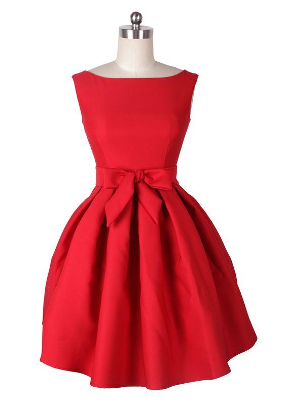 ReoRia Modern-Day Audrey Hepburn Red Party/Wedding Dress -1950s ...