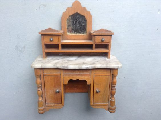 ANTIQUE DOLLS HOUSE GERMAN FRUITWOOD,MARBLE TOP SCHNEEGAS BUREAU,CABINET,DRESSER | eBay