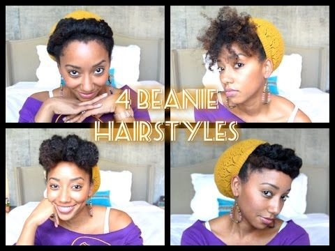 4 BEANIE HAIRSTYLES ON NATURAL HAIR - YouTube