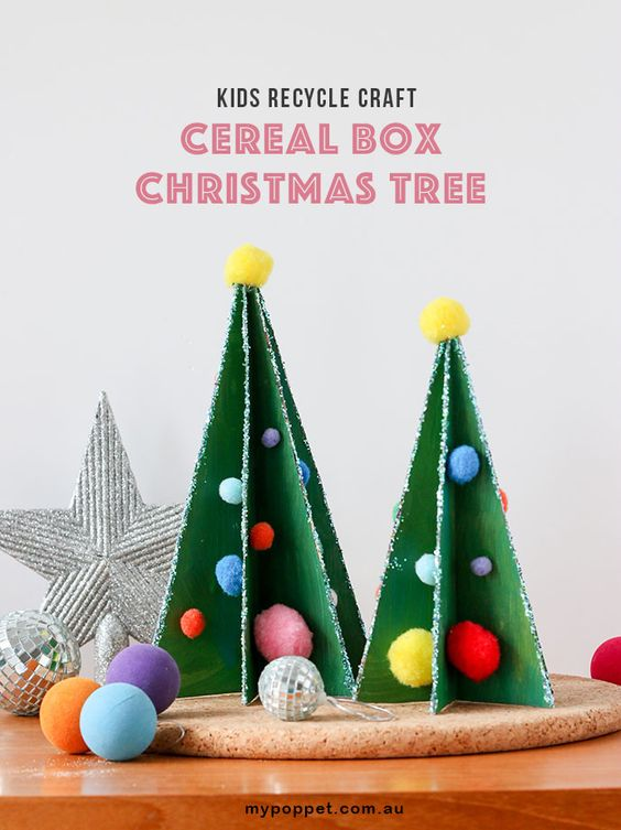 Kids Recycle Craft Cereal Box Christmas Tree My Poppet Makes Recycled Christmas Decorations Christmas Tree Template Recycled Crafts Kids