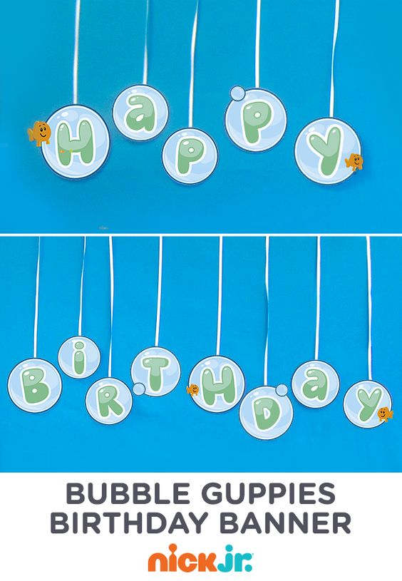 Make this bubbly 39 happy birthday 39 bubble guppies banner from printables bubble guppies party - Bubble guppies birthday banner template ...