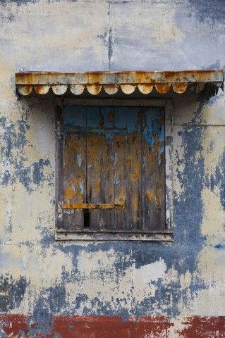 France, Reunion Island, Plaine-des-Palmistes, detail of weathered Creole-style house
