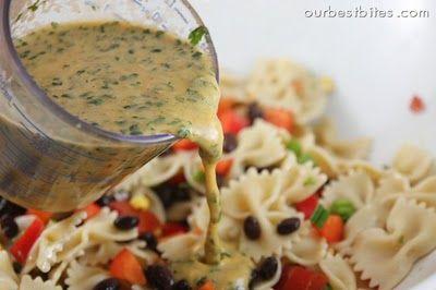 Southwest pasta salad with cilantro-line dressing <3