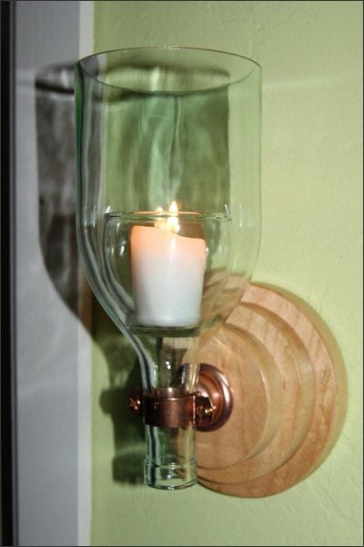 Repurposed Wine Bottle Candle Wall Sconce by WoodsmithOfNaples, $39.99 i could totally make this for a lot less!
