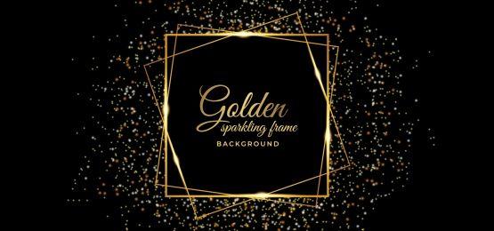 Background With Golden Sparkling Square Frame Light Background Images Black Paper Background Sparkles Background