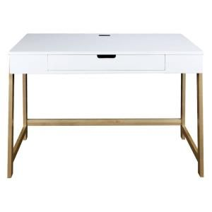 Drawer Writing Desk With Solid Wood, American Trails Art Deco Writing Desk Maple White Finish