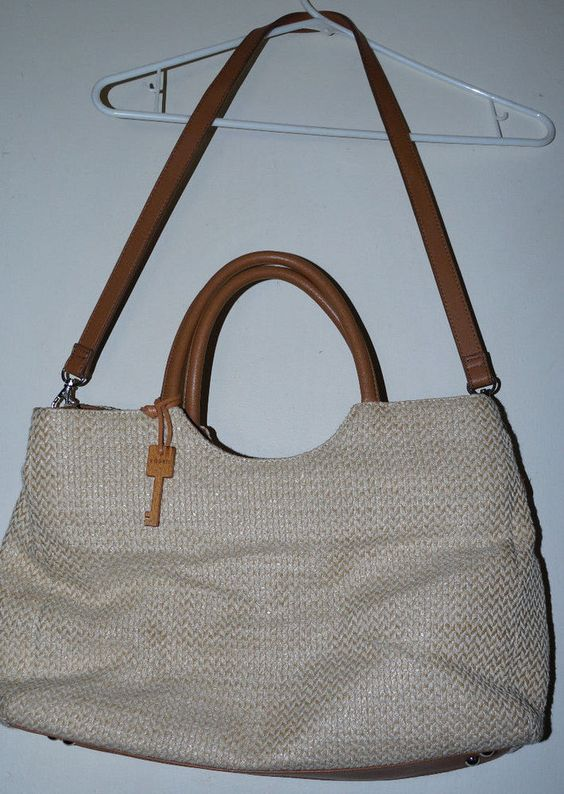 Fossil Woven Design Cream and Camel Dual Handle Shoulder Tote Bag Crossbody LRG #Fossil #TotesShoppers