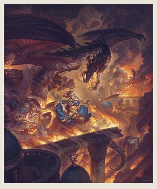 Scene Inspired By Tolkien S Depiction Of The Fall Of Gondolin In The Silmarillion Painting By Justin Gerard Tolkien Art Art Lotr Art