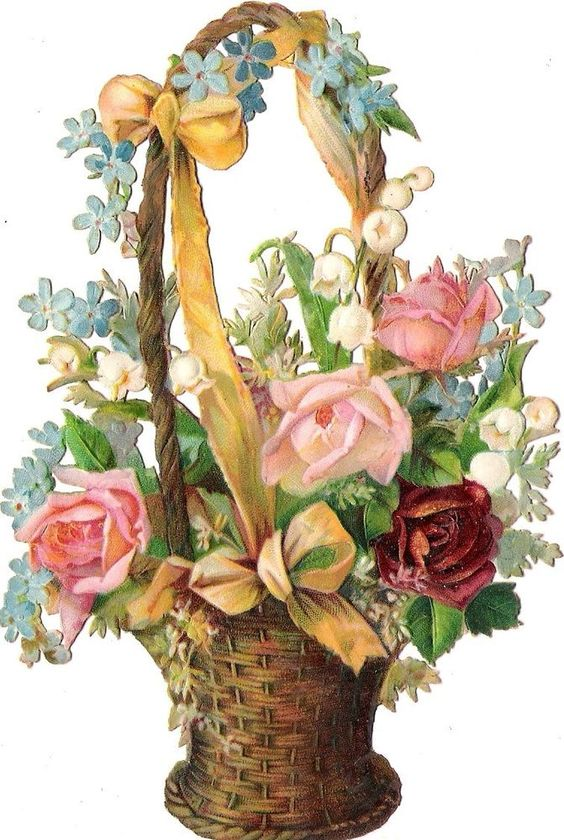 Oblaten Glanzbild scrap die cut chromo Blumen Korb  14,5cm flower basket ribbon: