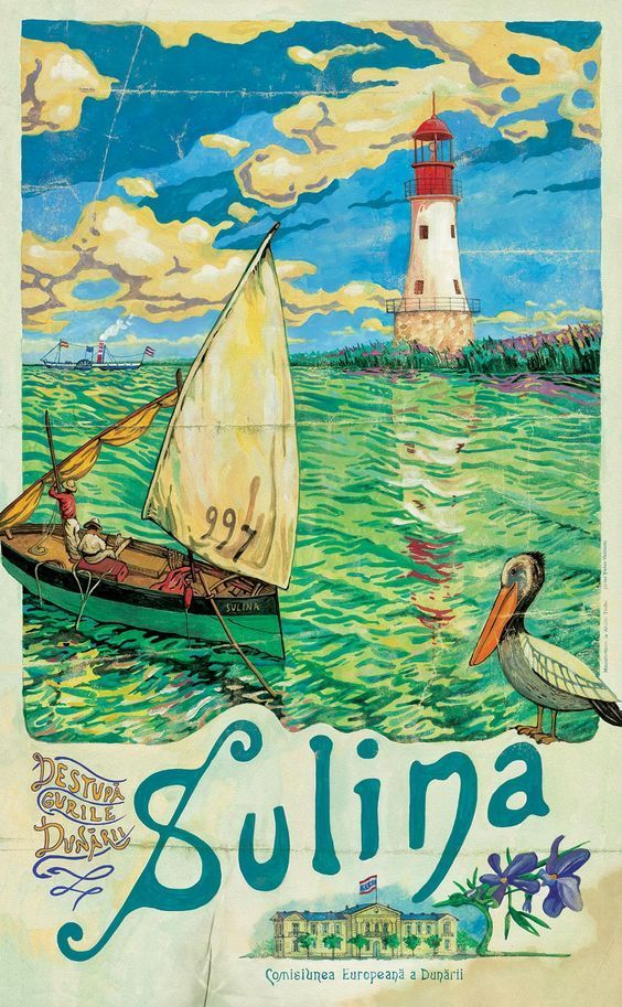 Romania Rumania Danube Delta Europe Vintage Travel Advertisement Poster Print
