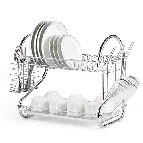 Glotoch Dish Drying Rack 2 Tier Dish Rack With Utensil Holder Cup Holder And Dish Drainer For Kitchen Counter Top In 2020 Dish Rack Drying Dish Racks Dish Drainers