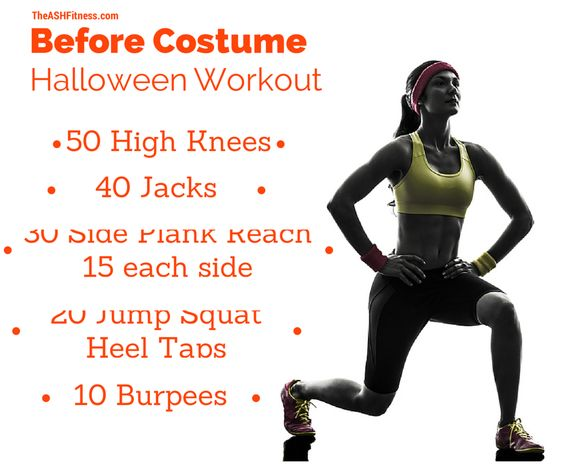 #Halloween Complete two rounds, three if you dare. 50 high knees; 40 jumping jacks; 30 side plank reach - 15 right / 15 left; 20 jump squat heel taps; 10 burpees #ASHFitness #WorkBitch
