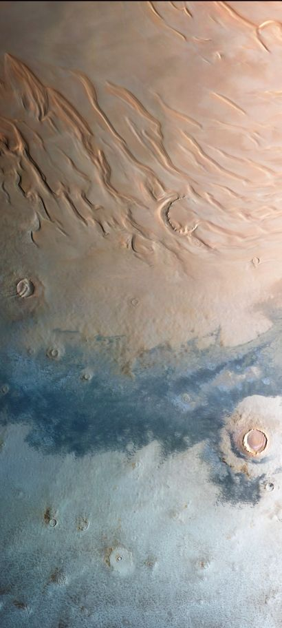 The north polar region of Mars, as seen last month by the European Space Agency's Mars Express probe.:
