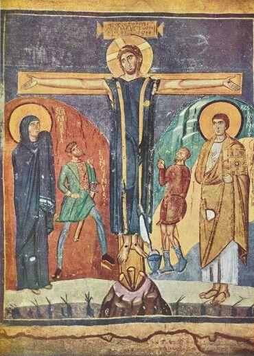 scena de la crucifixión, en la que destaca la presencia y el nombre de Longinos junto a la Virgen María. Basílica de Santa Maria la Antigua de Roma: