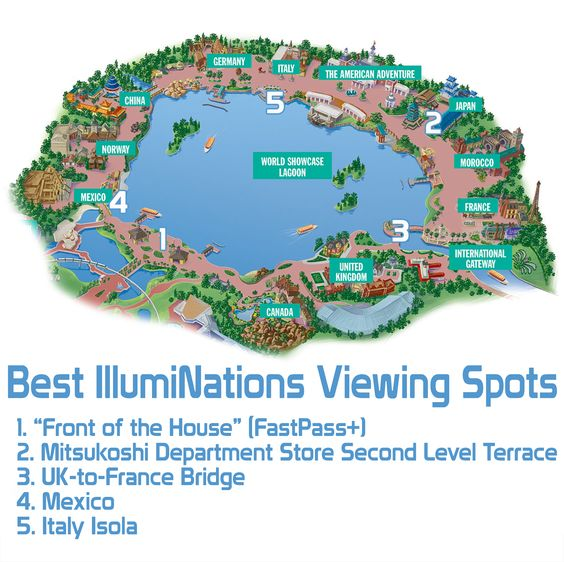 The top spots for viewing IllumiNations, plus other tips for Epcot's fireworks show in this post!