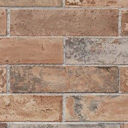 Papel de parede Decoração Tijolinho Origini 142-33 , Wallpaper, Importado, Lavável, Superfície Texturizada, Laranja, Marrom e Cinza