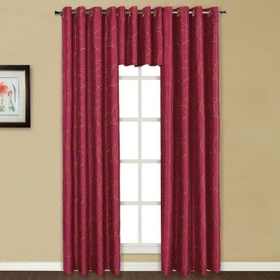 "Sinclair Panel Size: 63"" H x 54"" W, Color: Burgundy by United Curtain Co.. $28.34. Sold as a single panel that is 55"" wide x 63"" long. 100% polyester machine washable. Sinclair Embroidered Grommet Panel 63"" Long - BURGUNDY. Picture shows 2 panels. Unlined. SNC63BG Size: 63"" H x 54"" W, Color: Burgundy Features: -Matching valance completes the look.-Modern yet accessible.-Beautiful contemporary embroidered circles on lined grommet top panels.-Spot clean only. Color/Finish: -Bold..."